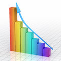 Business gradient color graph bar d render moving up close up Stock Image