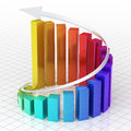 Business gradient color graph bar d render spiral moving up close up Stock Photography