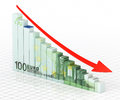 Business graph bar d render hundred euro moving down close up Royalty Free Stock Photo