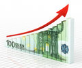 Business graph bar d render hundred euro moving up close up Royalty Free Stock Photos