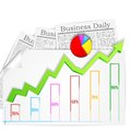 Business graph with business newspaper vector illustration of and chart Stock Images