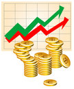 Business graph with coins Royalty Free Stock Photography
