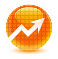 Business graph icon glassy orange round button