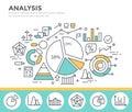 Business graph statistics, data analysis, financial report, market stats concept illustration.