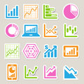 Business graph sticker icon set illustration eps Royalty Free Stock Images