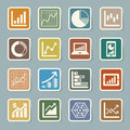 Business graph sticker icon set illustration eps Stock Images