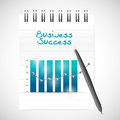 Business graph success and notepad illustration design over a white background Royalty Free Stock Photos