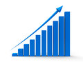 Business graph up blue with blue arrow three dimensional rendering Stock Photography