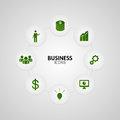 Business green icons in button vector Royalty Free Stock Photo