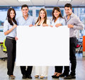Business group with a banner Royalty Free Stock Photo