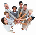 Business group-overlapping hands,isolated Stock Image