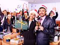 Business group people in santa hat at xmas party happy Royalty Free Stock Image