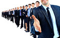 Business group in a row. leader with open hand Royalty Free Stock Photo