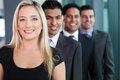Business group smiling successful in a row Royalty Free Stock Photos