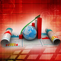 Business growth graph and globe in color background Stock Images