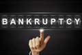 Business hand clicking bankruptcy on flipboard pushing display Royalty Free Stock Photography
