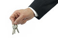 Business hand holding keys isolated white Royalty Free Stock Photos