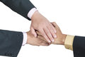 Business hand joined for teamwork concept over white Royalty Free Stock Photos