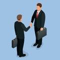 Business handshake concept. Handshake in flat style. Business deal handshake isometric vector  illustration. Mans Royalty Free Stock Photo