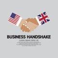 Business Handshake Illustration, USA and UK. Royalty Free Stock Photo