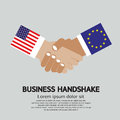 Business handshake vector illustration united states of america usa and member state of the european union eu Royalty Free Stock Image