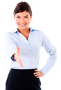 Business handshake woman ready to isolated over a white background Royalty Free Stock Photo