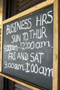 Business Hours Signboard Royalty Free Stock Images