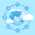 Business human resource connect globe with icon together Stock Image
