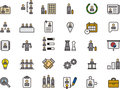 Business human resources icon set of colorful icons relating to a or company s on white background Stock Photos