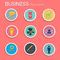 Business icon set flat style vector illustration eps contains transparencies Stock Photo