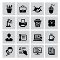 Business icon vector black set on gray Stock Photography