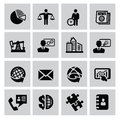 Business icon vector black set on gray Royalty Free Stock Photography