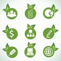 Business icons and design with green leaf Stock Photography
