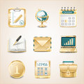 Business icons of gold set Royalty Free Stock Image
