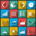 Business icons of ratings graphs and charts infographic elements set isolated vector illustration Stock Photo