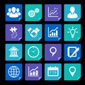 Business icons set and design elements for infographics presentation isolated vector illustration Stock Photos