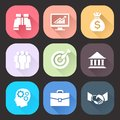 Business icons set with long shadow on dark background. Trendy flat design