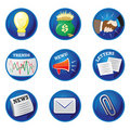 Business Icons - Shiny, Blue Stock Photography