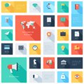 Business icons vector collection of colorful flat and finance with long shadow design elements for mobile and web applications Royalty Free Stock Photography