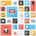 Business icons vector collection of modern simple flat and trendy and office with long shadow Royalty Free Stock Photo