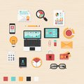 Business icons vector collection of modern trendy flat and office on table Royalty Free Stock Photos
