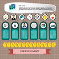 Business idea infographic with icons, persons, money, charts and papers, flat design Royalty Free Stock Photo