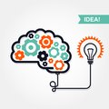 Business idea or invention icon brain with gear wheel and light bulb Stock Image