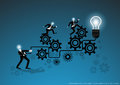 Vector business for ideas and creativity in business operations with backlash and bulb flat design