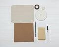 Business identity mockup item set on white wooden desk Stock Photo