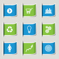 Business infographic icons set of different info graphic in green and blue Royalty Free Stock Image