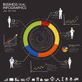 Business infographic illustration of with graph and businesspeople Stock Photo