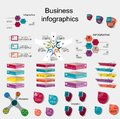 Business infographics in three four five six six stages