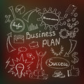 Business inspiration concept plan with hand drawn doodle icons light bulb idea analysis diagram and graph teemwork and success Stock Image