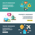 Business insurance, banking services and safety vector banners set Royalty Free Stock Photo